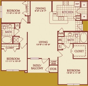Three Bedroom Apartment Rental in Katy, TX