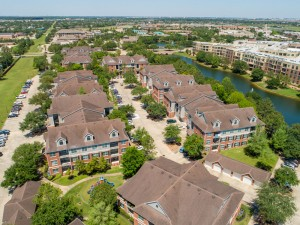 Three Bedroom Apartments for Rent in Katy, TX - Aerial View of Community & Surrounding Area with Lake