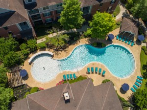 Three Bedroom Apartments for Rent in Katy, TX - Aerial View of Pool & Buildings