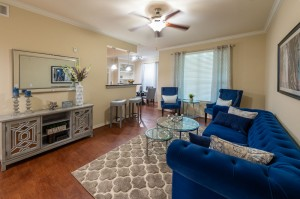 Three Bedroom Apartments for Rent in Katy, TX - Model Living Room & Breakfast Bar